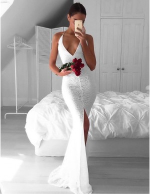 White Deep V-neck Split Front Sweep Train Lace Backless Mermaid Prom Dress