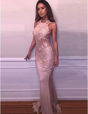 Blush Round Neck Sleeveless Backless Long Mermaid Prom Dress with Lace