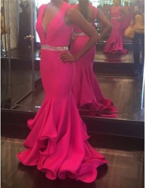 Fuchsia Deep V-neck Open Back Long Mermaid Prom Dress with Beading Ruffles