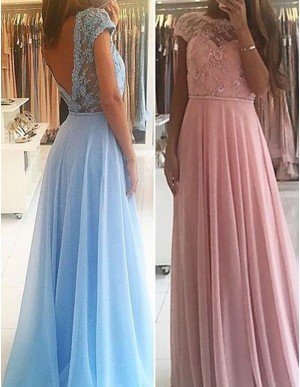 Bateau Cap Sleeves Blush/Blue Long Prom Dress with Appliques Beading