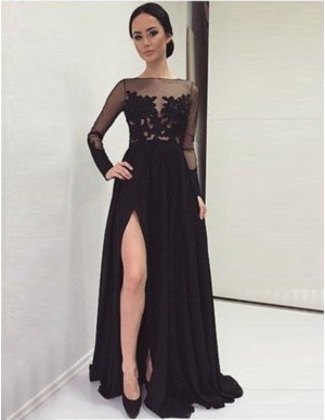 Black Illusion Long Sleeves Sweep Train Split Prom Dress with Lace