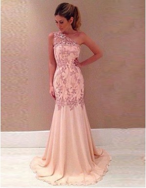 Mermaid One Shoulder Sweep Train Pink Prom Dress with Lace Appliques