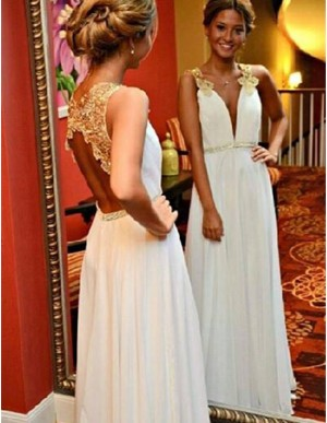 A-Line Deep V-Neck Appliques Beading White Chiffon Prom Dress with Open Back