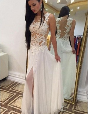 A-Line Crew Neck Floor-length Split White Chiffon Prom Dress with Lace Beading