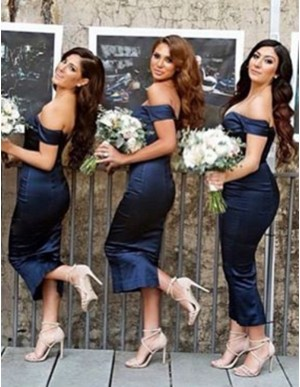 Sheath Off the Shoulder Short Sleeves Tea-Length Navy Blue Bridesmaid Dress