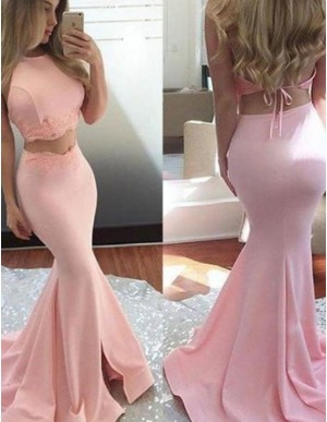 Two Piece Mermaid Jewel Backless Pink Long Prom Dress with Lace