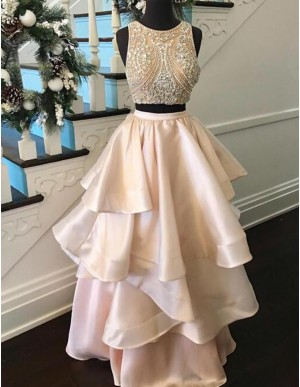 Two Piece Round Light Champagne Tiered Prom Dress with Beading