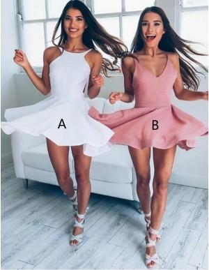 A-line V-neck Sleeveless Blush Elastic Satin Short Homecoming Dress
