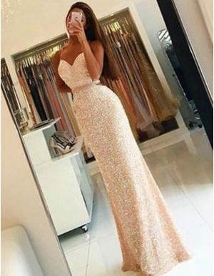 Mermaid Sweetheart Long Ivory Sequins Backless Prom Dress with Beading