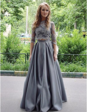 Two Piece Jewel Floor-length Gray Prom Dress with Lace