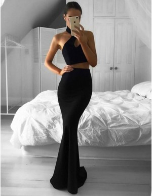 Chic Two Piece Halter Sweep Train Sleeveless Mermaid Keyhole Black Prom Dress
