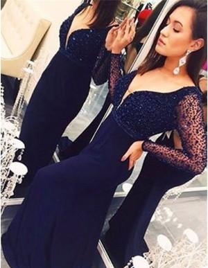 Nice V Neck Long Sleeves Sweep Train Dark Blue Prom Dress with Beading