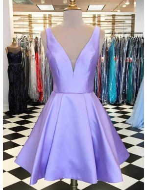 A-Line V-Neck Lilac Satin Simple Short Homecoming Dress