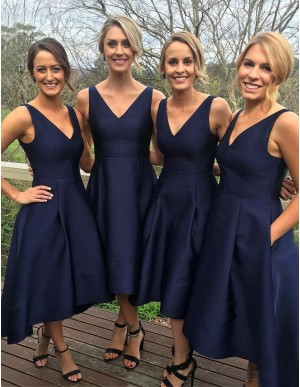 High Low V Neck Navy Blue Bridesmaid Dress with Pockets