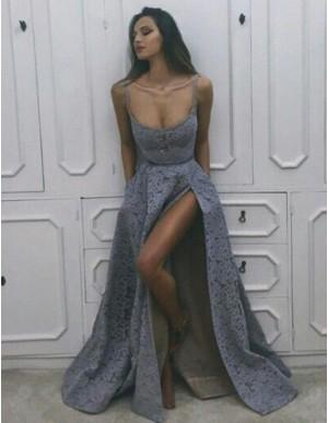 A-Line Scoop Slit Legs Lavender Sexy Long Lace Prom Dress