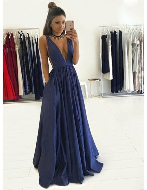 A-Line Deep V-Neck Long Dark Blue Prom Dress with Pockets