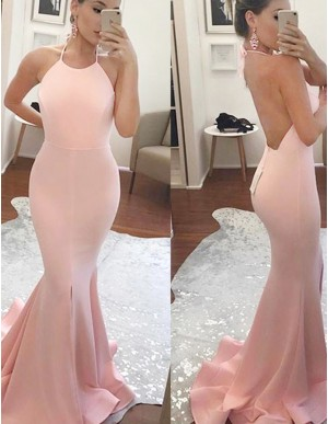 Mermaid Halter Sweep Train Backless Pearl Pink Prom Dress with Split