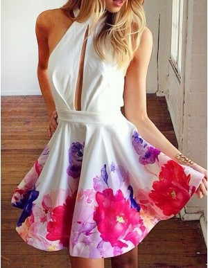 A-Line Jewel Keyhole Backless Printed White Short Homecoming Cocktail Dress