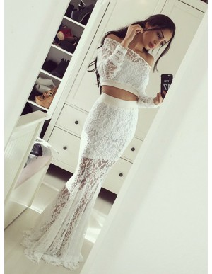 Two Piece Off-the-Shoulder Long Sleeves White Lace Prom Dress