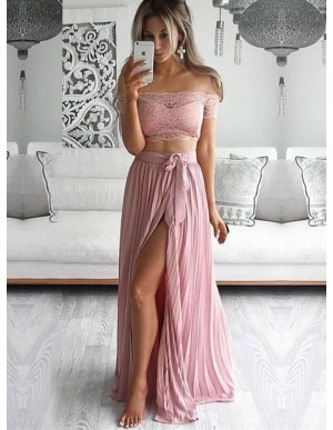 Two Piece Off-the-Shoulder Blush Pink Chiffon Prom Dress with Lace