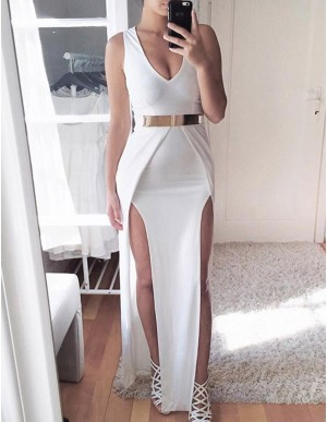 Sheath White V-neck Split Floor-length Prom Dress with Belt
