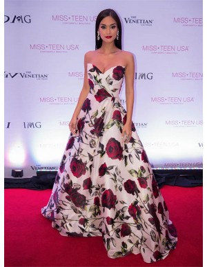 A-Line Sweetheart Printed Floor-Length Ivory Satin Floral Prom Dress