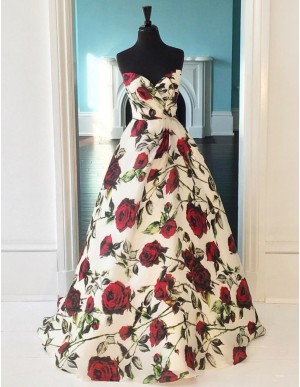 A-Line Sweetheart Printed Floor-Length Ivory Satin Prom Dress