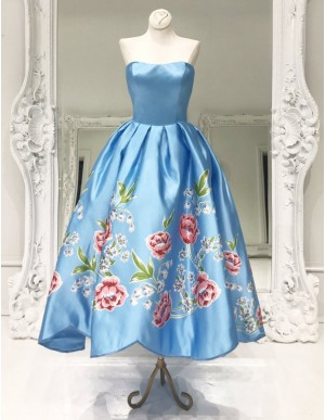 A-Line Sweetheart Printed Pleated Floor-Length Blue Satin Prom Dress