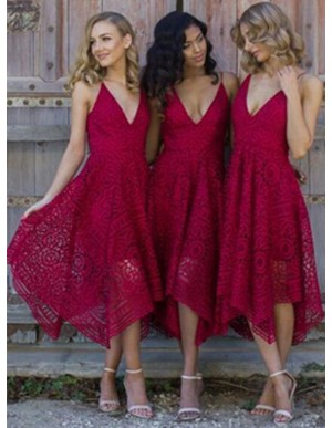 A-Line Spaghetti Straps Asymmetrical Burgundy Lace Bridesmaid/Prom Dress