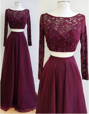 Two Piece Bateau Long Sleeves Burgundy Chiffon Prom Dress with Lace Beading