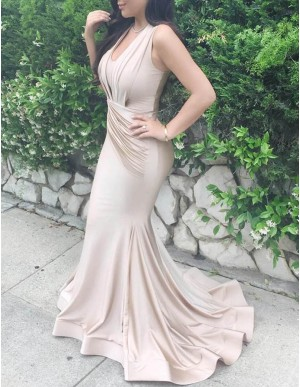 Mermaid Scoop Neck Light Champagne Prom Dress with Ruched