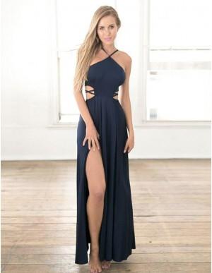 A-Line Spaghetti Straps Sleeveless Dark Blue Chiffon Prom Dress with Split