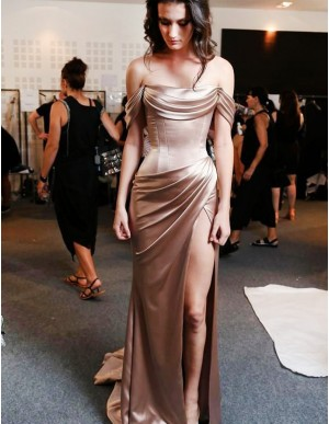 Sheath Off-the-Shoulder Slit Leg Champagne Prom Dress with Ruched
