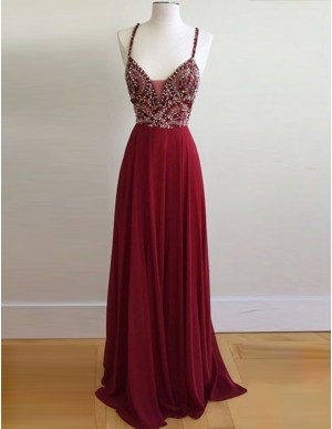 A-Line Spaghetti Straps Backless Sweep Train Burgundy Satin Prom Dress with Beading
