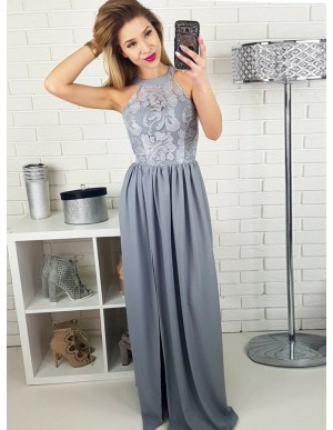 A-Line Crew Floor-Length Grey Chiffon Prom Dress with Lace Split