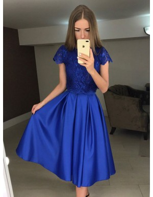 Two Piece Crew Tea-Length Royal Blue Prom Homecoming Dress with Lace Pleats