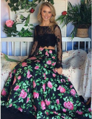 Two Piece Mermaid Bataeu Long Sleeves Floral Prom Dress with Lace