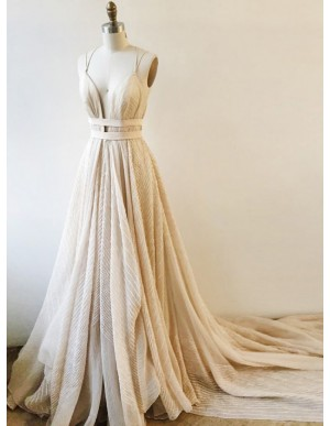 A-Line Spaghetti Straps Beige Lace Prom Evening Dress with Sashes
