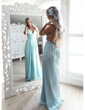 A-Line Spaghetti Straps Floor-Length Mint Chiffon Prom Dress