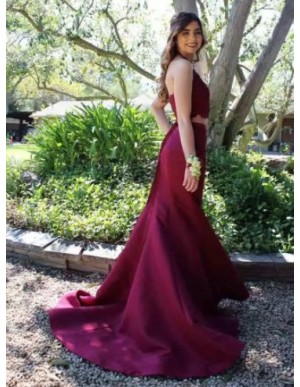 Two Piece Mermaid Halter Burgundy Satin Prom Dress with Appliques