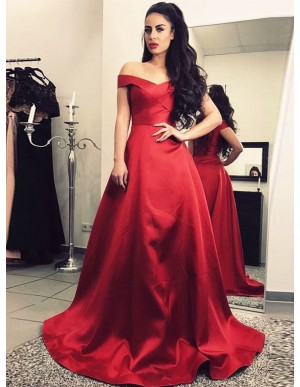 A-Line Off-the-Shoulder Floor-Length Dark Red Prom Dress
