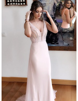 Sheath Deep V-Neck Beaded Pearl Pink Gorgeous Chiffon Prom Dress