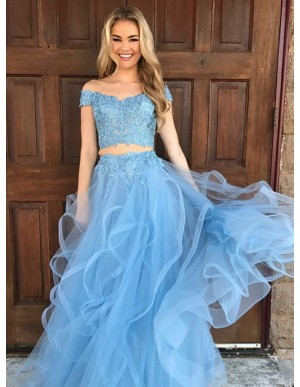 Two Piece Off-the-Shoulder Blue Tulle Gorgeous Prom Dress with Appliques