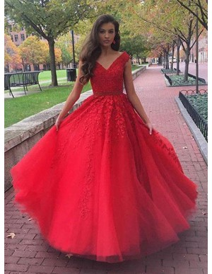 A-Line V-Neck Sweep Train Red Prom Dress with Appliques Beading