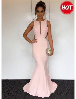 Mermaid Round Sweep Train Open Back Gorgeous Pearl Pink Prom Dress