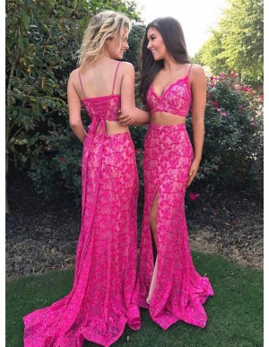 Sheath Two Piece Spaghetti Straps Fuchsia Lace Prom Dress with Split