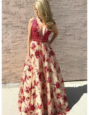 A-Line Deep V-Neck Fuchsia Prom Dress with Appliques Beading