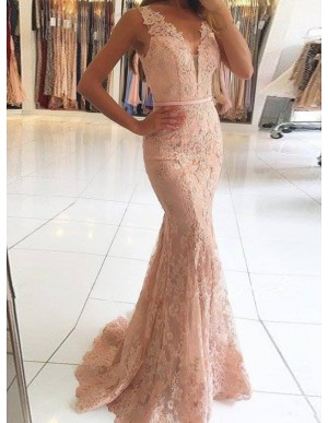 Mermaid Deep V-Neck Pink Lace Prom Dress with Beading Appliques