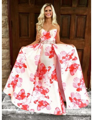 A-Line Sweetheart Detachable Satin Floral Pink Prom Dress with Beading