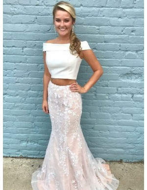 Two Piece Mermaid Off-the-Shoulder Champagne Prom Dress with Appliques